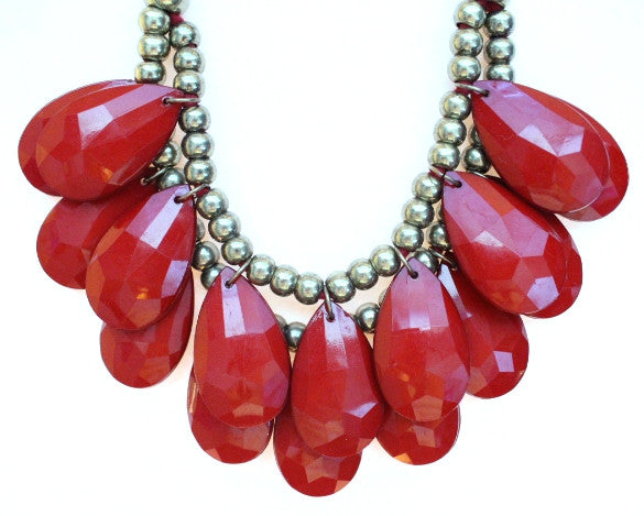Baubles Teardrop Tie Statement Necklace- Red
