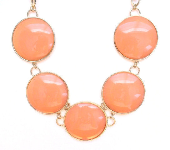 Round Enamel Statement Necklace- Peach