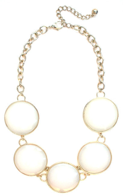 Round Enamel Statement Necklace- White