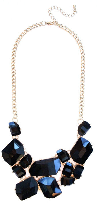 Jeweled Stone Fragment Necklace- Black