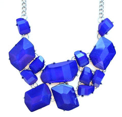 Jeweled Stone Fragment Necklace- Royal