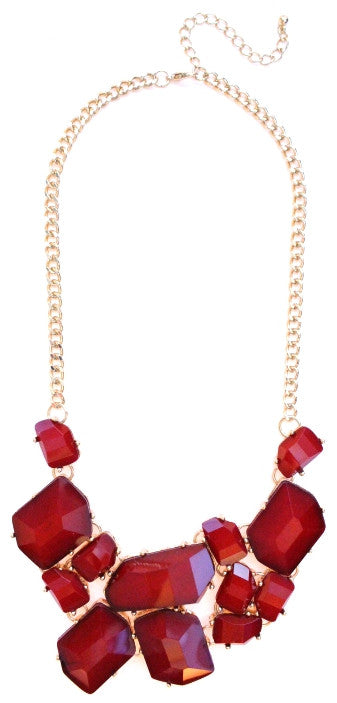 Jeweled Stone Fragment Necklace- Red