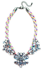 Crystal Jewel & Rope Necklace- Rainbow
