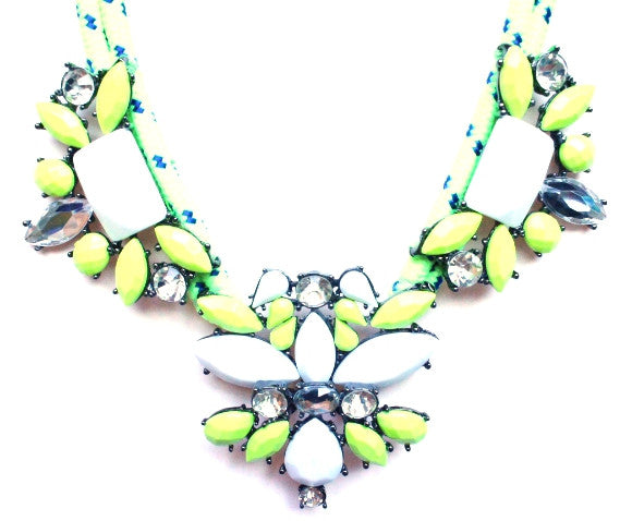 Crystal Jewel & Rope Necklace- Neon