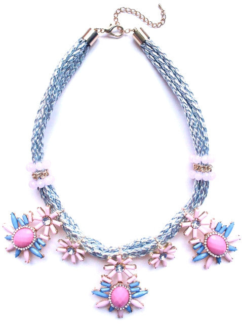 Leather & Jewels Statement Necklace
