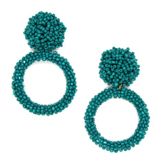 Jade Beaded Hoop Earrings- Teal