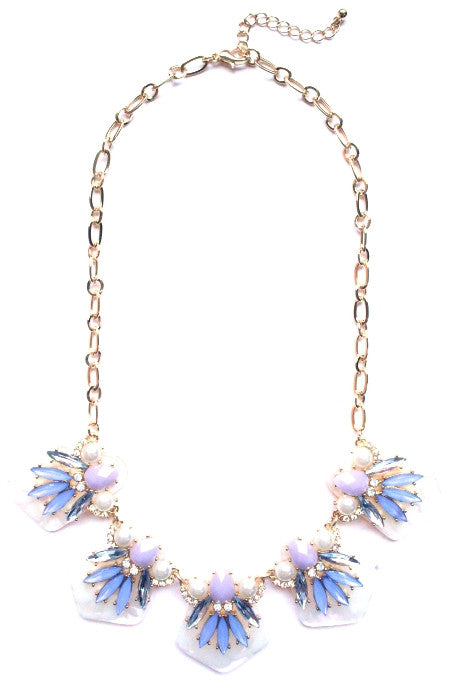 Jewel Plated Necklace- Lavender
