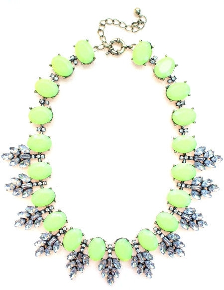 Luxe Neon Leaves Frosting Statement Necklace