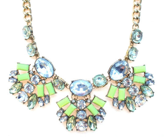 Neon Crystal Fan Necklace