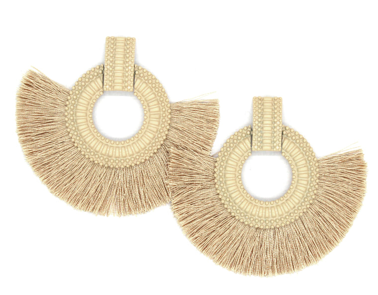 Hadley Fringe Tassel Earrings- Tan