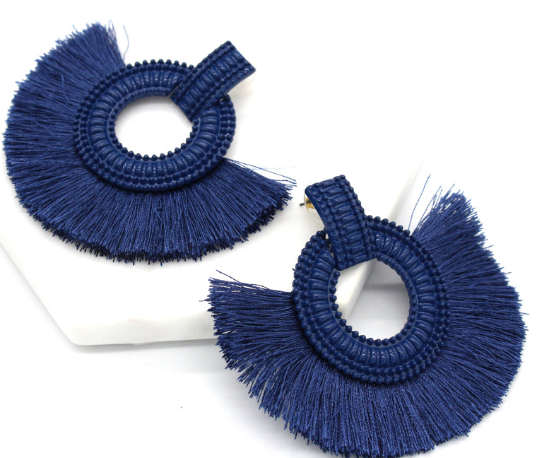 Hadley Fringe Tassel Earrings- Blue