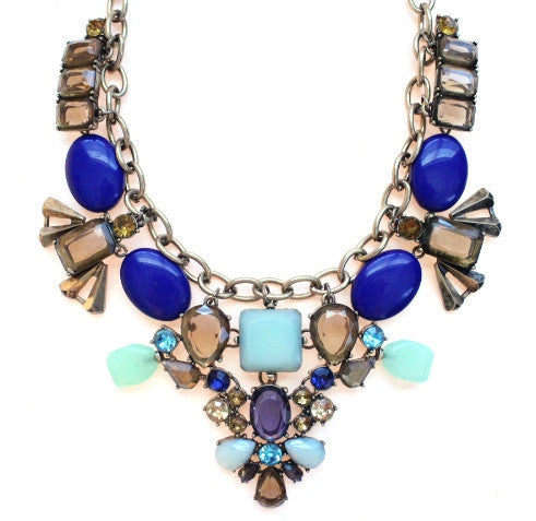 Stone Collage Statement Necklace