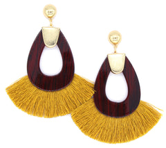 Hannah Tassel Earrings- Mustard