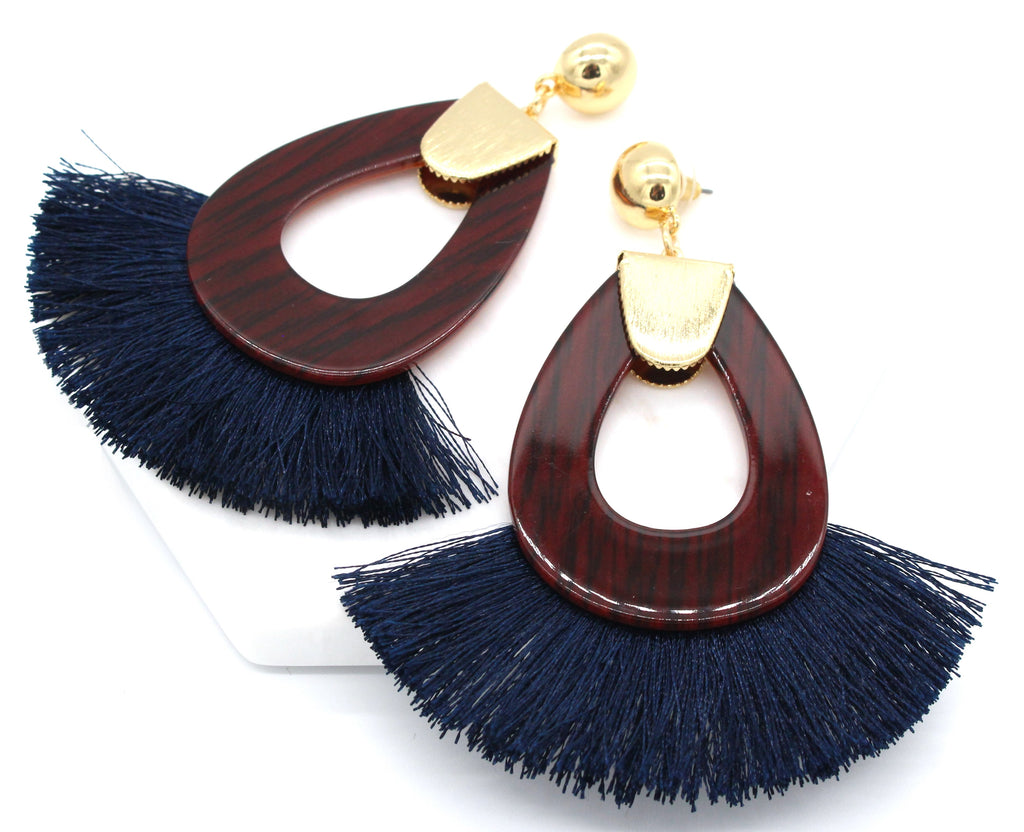 Hannah Tassel Earrings- Navy Blue
