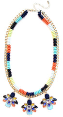 Beaded & Jeweled Triple Pendant Statement Necklace- Multi