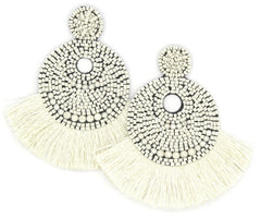 Josie Beaded Tassel Earrings- Ivory