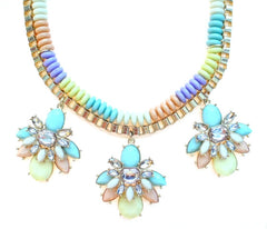 Beaded & Jeweled Triple Pendant Statement Necklace- Pastel