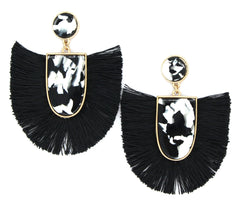 Mia Fan Fringe Earrings- Black & White