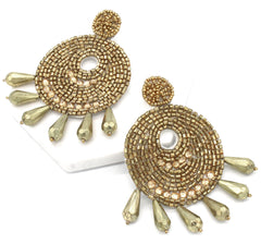 Ingrid Beaded Statement Earrings- Gold