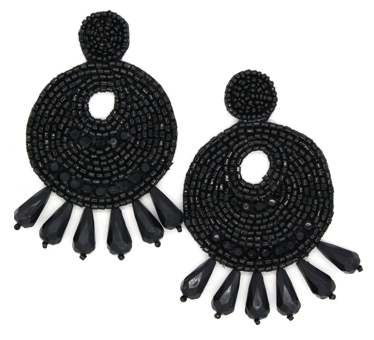 Ingrid Beaded Statement Earrings- Black