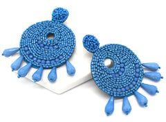 Ingrid Beaded Statement Earrings- Blue