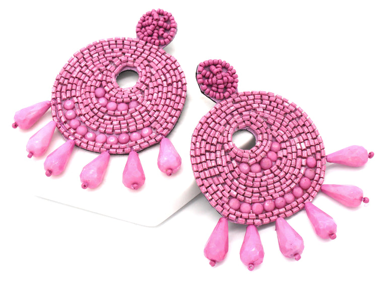 Ingrid Beaded Statement Earrings- Pink