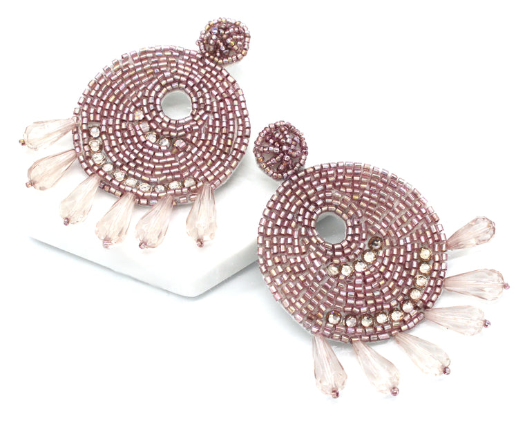 Ingrid Beaded Statement Earrings- Violet