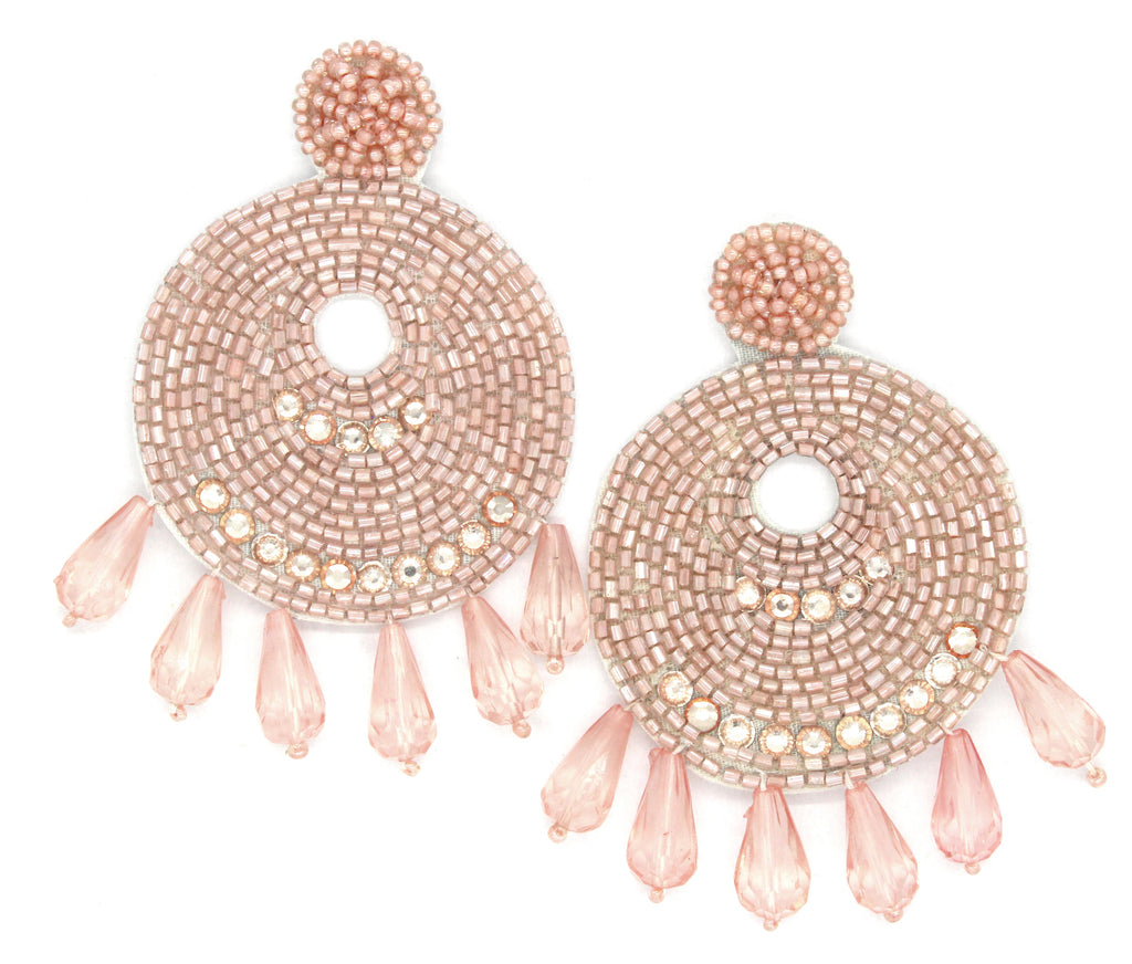 Ingrid Beaded Statement Earrings- Blush