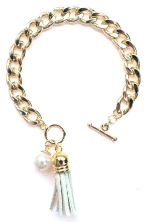 Chain Linked Tassel Bracelet- Ivory