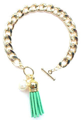 Chain Linked Tassel Bracelet- Green