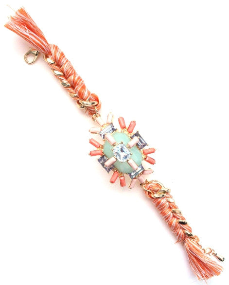Jewel Threaded Chain Link Bracelet- Mint/Coral