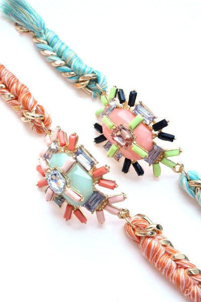 Jewel Threaded Chain Link Bracelet- Pink/Neon