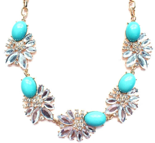 Crystal Stone Floral Necklace- Turquoise