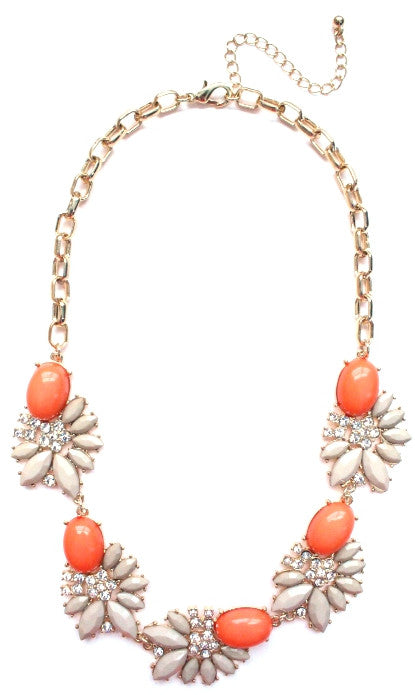 Crystal Stone Floral Necklace- Coral