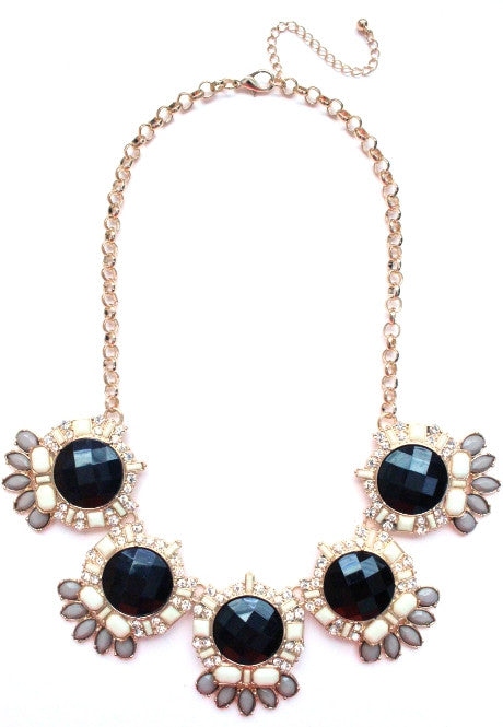 Jeweled Crystal Bloom Necklace- Black & Ivory