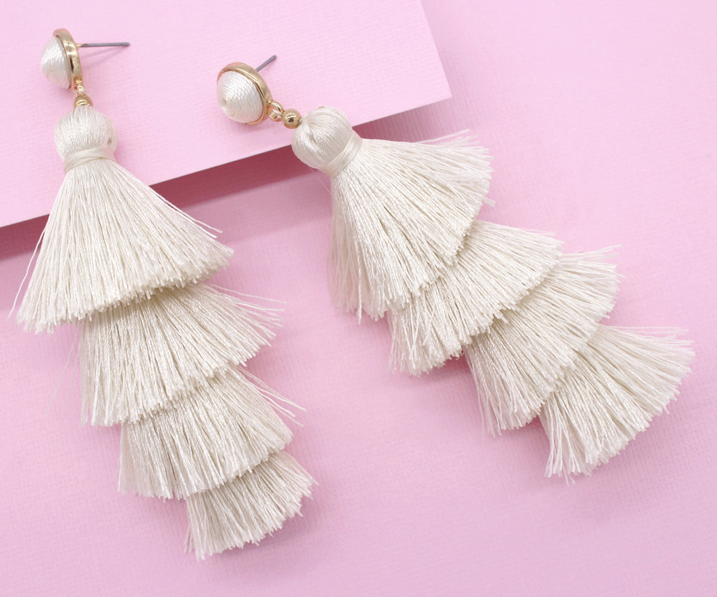 Chelsea Tassel Earrings- Ivory