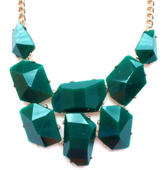 Jeweled Stone Necklace- Green