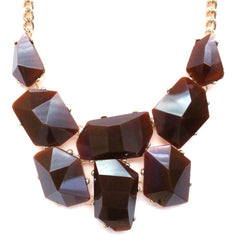 Jeweled Stone Necklace- Brown