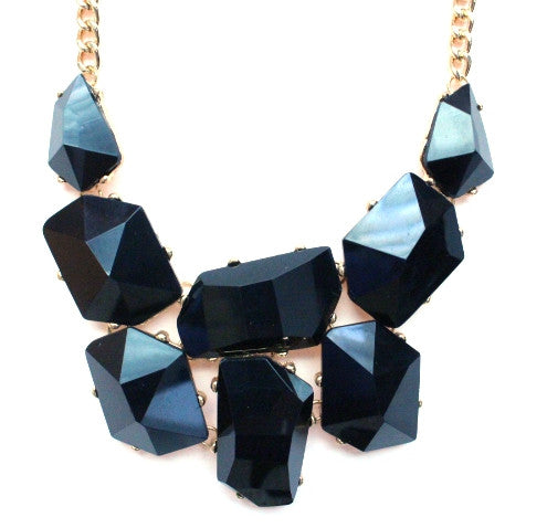 Jeweled Stone Necklace- Black