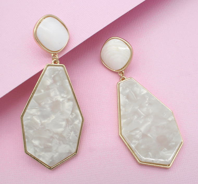 Talia Resin Drop Earrings- Ivory/ Mother of Pearl