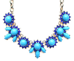 Crystal Petal Necklace- Blue