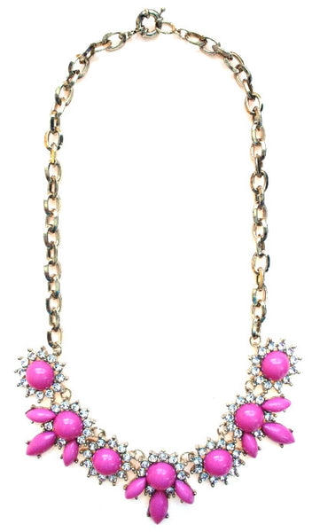 Crystal Petal Necklace- Pink