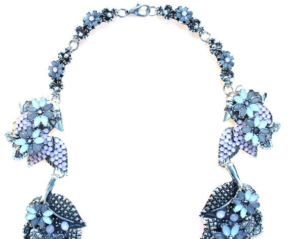 Mini Crystal Leaves Statement Necklace