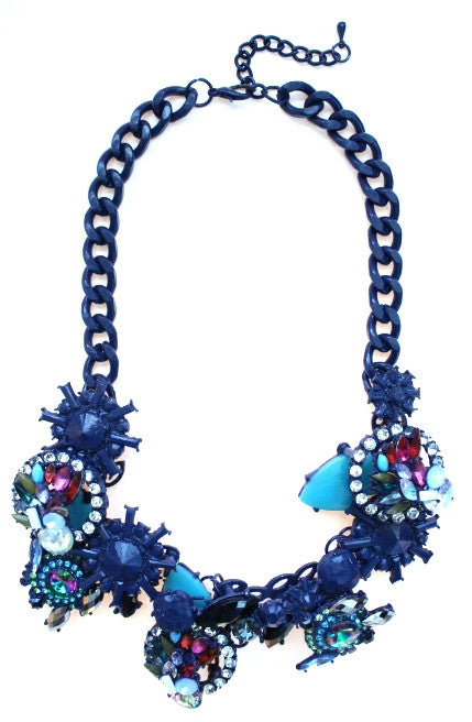 Luxe Chunky Geometric Crystal Rhinestone Necklace