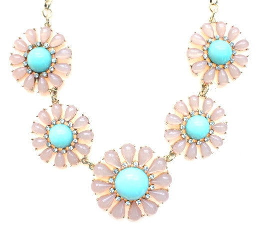 Crystal Daisy Statement Necklace- Pink/ Mint