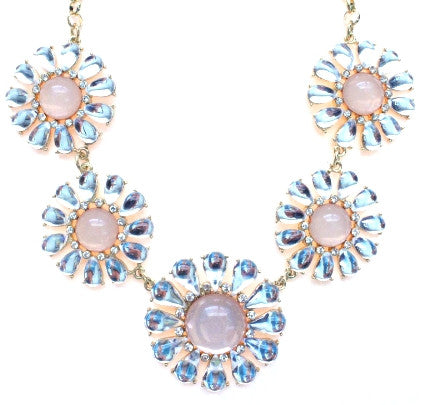 Crystal Daisy Statement Necklace- Crystal/ Pink