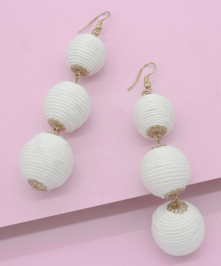 Avery Drop Earrings- White