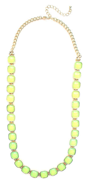 Square Neon Jeweled Chain Necklace- Neon Yellow