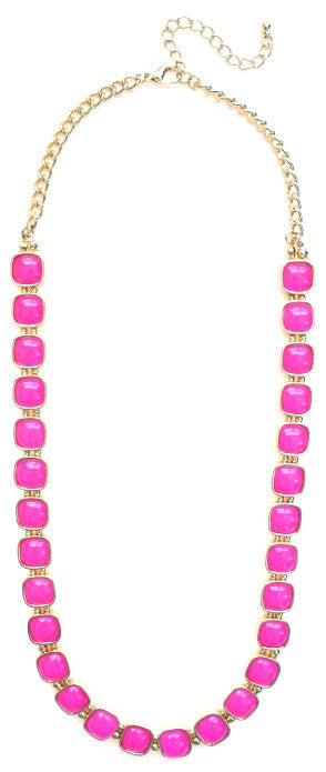 Square Neon Jeweled Chain Necklace- Hot Pink