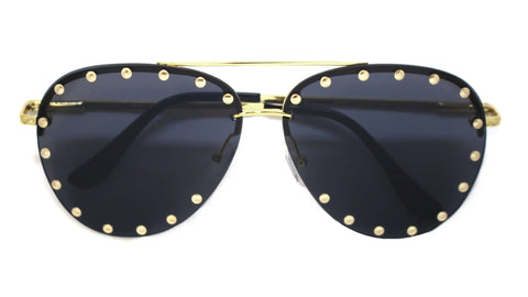 Audrey Studded Aviator Sunglasses- Black & Gold